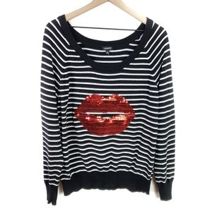 Torrid Red Sequin Lips Striped Sweater